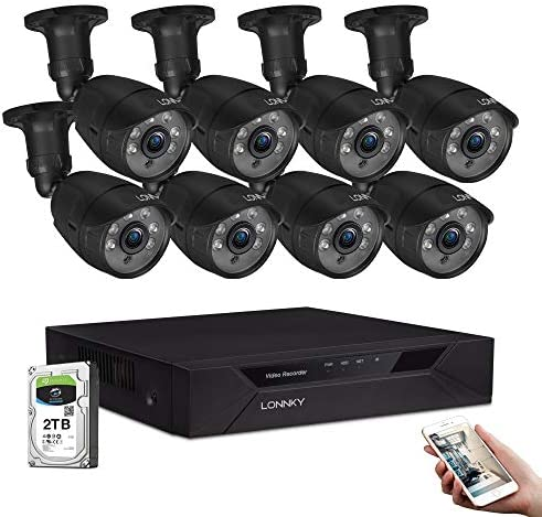 LONNKY 8CH Full HD 1080P Security Camera System,5-in-1 Surveillance DVR with 2TB Hard Drive and 8 2.0MP Waterproof Outdoor Indoor Bullet Camera,Metal Housing,Free Remote Viewing,Email App Alerts
