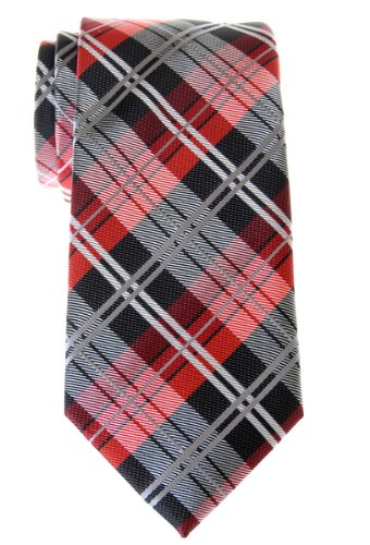Retreez Elegant Tartan Check Woven Microfiber Men's Tie - Black and - Stewart Tie Tartan