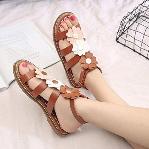 Hunpta Damen Sommer Sandalen Schuhe Peep-Toe Low Schuhe Römische Sandalen Damen Flip Flops Braun