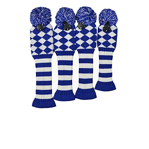 PLAYEAGLE 4pcs/Set Knitted Wool Knit Golf Clubs Set Pom Sock Covers Dirver/Fairway Golf Club Head Cover Wood Headcovers Golf Accessories (Blue)