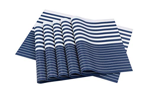 famibay Place mats, Heat Insulation PVC Placemats Stain-Resistant Crossweave Woven Table Mats for Kitchen (Set of 6, Horizontal Striped Blue and White)