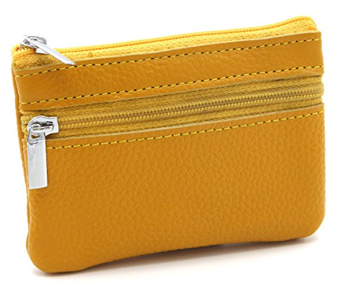 [DEEZOMO Genuine Leather Card Case Wallet / Coin Change Purse with Key Ring - Yellow] (Yellow Purses)