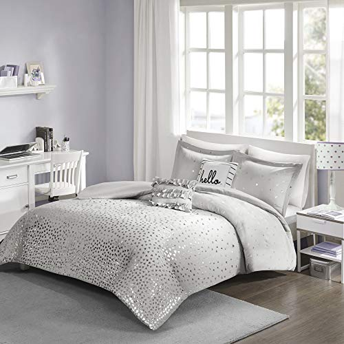 - Intelligent Design Zoey Metallic Triangle Print Duvet Cover Set, King/Cal King, Grey/Silver