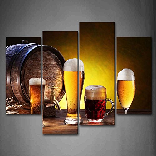 First Wall Art – Yellow Beer With White Wall Art Painting Pictures Print On Canvas Food The Picture For Home Modern Decoration