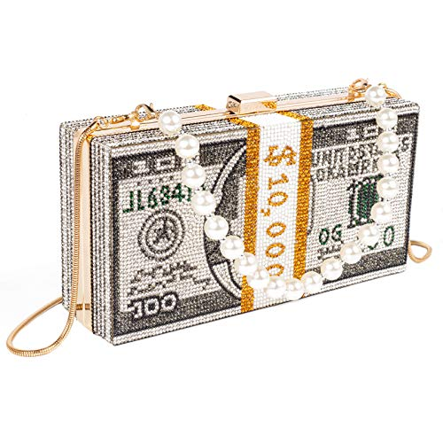 Sparkly clutch purses for women Wedding dinner bag ​Stack of cash dollars crystal clutch purses Party cocktail…