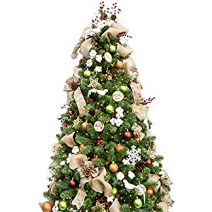 KI Store 7ft Artificial Christmas Tree with Ornaments and Lights Woodland Christmas Decorations Including 7 Feet Full…