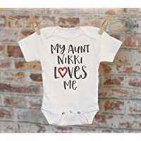 Handmade at the baby store my aunt loves me personalized onesie auntie gift gift for niece nephew negle