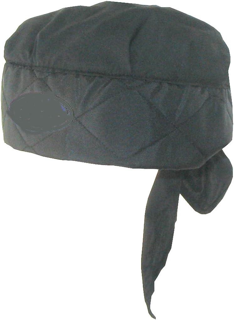 Heat Relief Depot Evaporative Cooling Skull Cap Tie Hat - Black- One Size