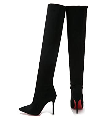 Amazon.com | Women Sexy Over the Knee Boots Stretch Thin Heels