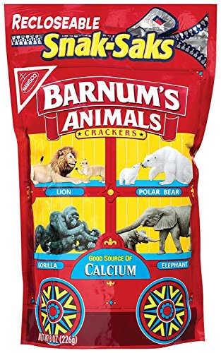 Barnum's Animal Crackers, 8-Ounce Snak-Saks (Pack of 12)