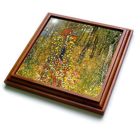 3dRose VintageChest - Masterpieces - Gustav Klimt - Cottage Garden with Crucifix - 8x8 Trivet with 6x6 ceramic tile (trv_303036_1)