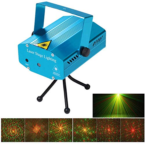 QIroseonly LED Mini Stage Light Laser Projector Club Dj Disco Bar Stage Light, Auto Flash Stage Projector Light with Tripod for Disco Lights Club Party(Blue) (Mini Stage Laser Lighting)