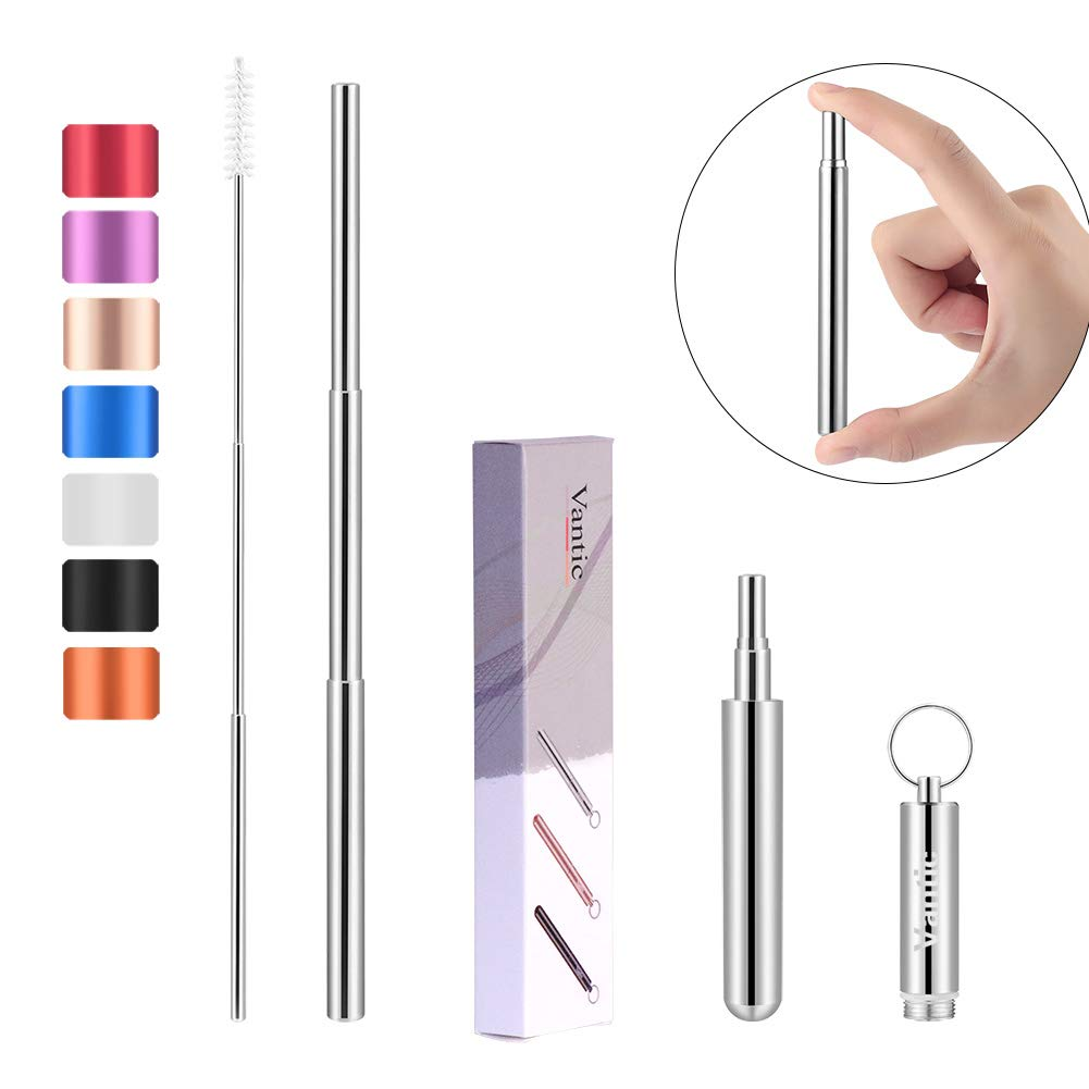 Vantic Portable Reusable Drinking Straws - Telescopic Stainless Steel Metal Straw with Aluminum Case & Cleaning Brush (2019) …