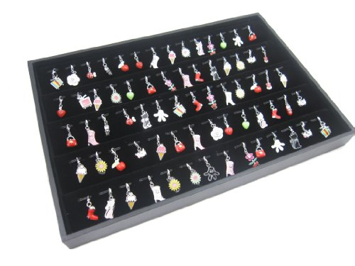 Black Velvet Jewelry Display Case for Pendants Charms, 56 Clips
