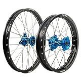 Kawasaki KX100 KX85 Tusk IMPACT Complete Front/Rear Wheel Kit 17''/14'' Black Rim/Silver Spoke/Blue Hub