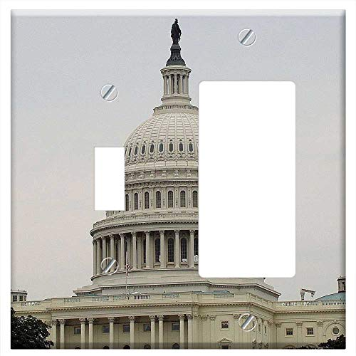 (1-Toggle 1-Rocker/GFCI Combination Wall Plate Cover - White House Washington Dc Senate Capital Cong)