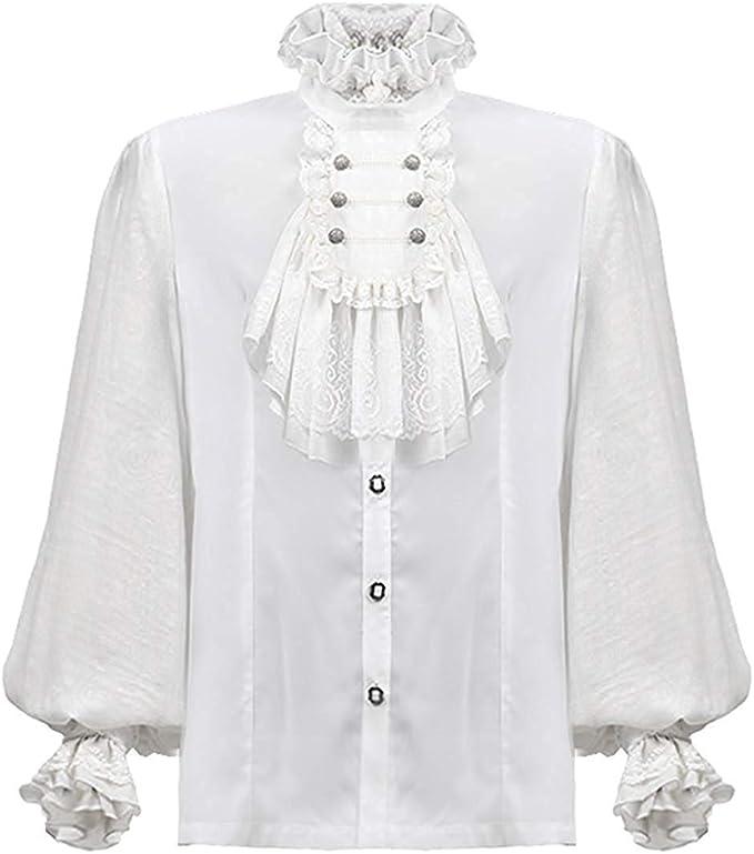 Punk Rave Camisa Hombre Top Blanco Gótico Steampunk Boda Regency Aristocrat: Amazon.es: Ropa y accesorios