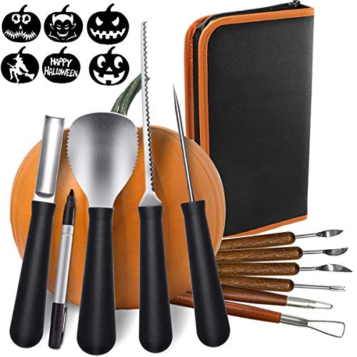 10 Pack Halloween Pumpkin Carving Kit Halloween Sculpting Tools with 6 Stencils 1 Pen for Halloween Kits Party Decoration (Storage Case -