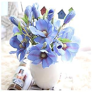 Yu2d 🌹🌹 Artificial Fake Flowers Leaf Magnolia Floral Wedding Bouquet Party Home Decor(Hot Pink,Blue ) 89