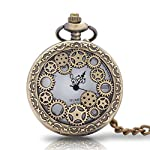 1 x Vintage Pocket Watch with Chains Necklace,Steampunk Gear Hollow Quartz Pocket Watches for Men Women Xmas Birthday Gift Present 6