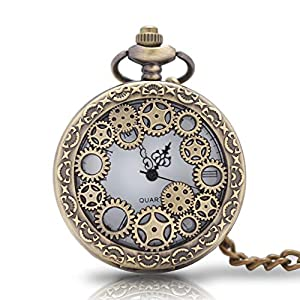 1 x Vintage Pocket Watch with Chains Necklace,Steampunk Gear Hollow Quartz Pocket Watches for Men Women Xmas Birthday Gift Present