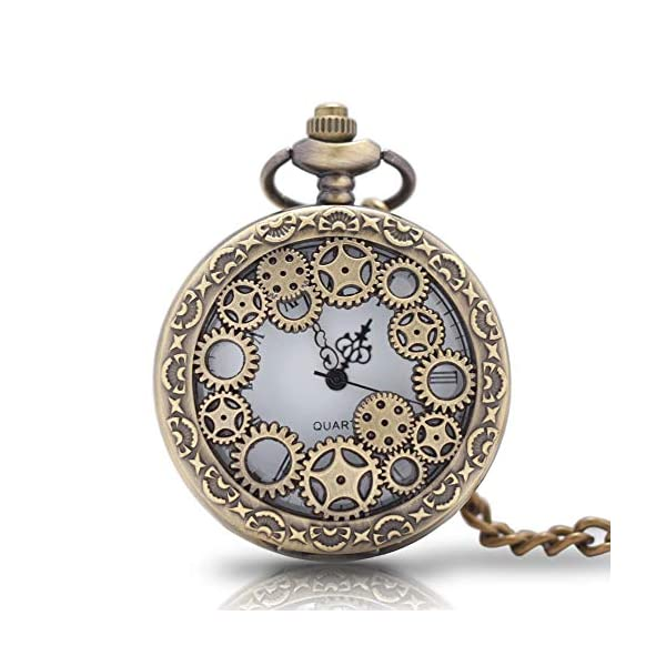 1 x Vintage Pocket Watch with Chains Necklace,Steampunk Gear Hollow Quartz Pocket Watches for Men Women Xmas Birthday Gift Present 3