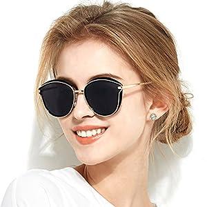 Fashion Women Sunglasses Polarized Cateye Designer Oversized Mirror by BLUEKIKI YEUX (Black)