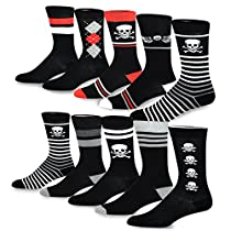TeeHee Mens Fun and Fashion Cotton Crew Socks 10-Pack
