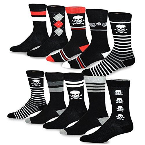 Skull Mens Socks - TeeHee Men's Cotton Crew Fashion Socks - 10 Pairs (S/51055+51056)10-13 Men's (US shoe sizes 8-13