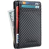 Travelambo Front Pocket Minimalist Leather Slim Wallet RFID Blocking Medium Size(01 carbon fiber texture black)