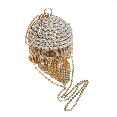Fashion Evening New Rhinestone Fringed evening Bag Banquet Fly Color Dinner Red Handbag Bag bag Ladies Gold HRxqF