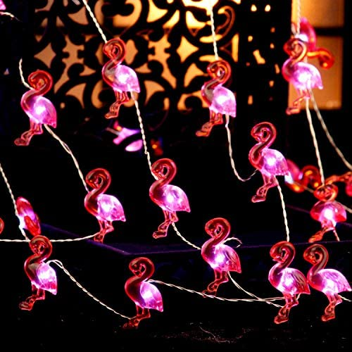 Flamingo String Lights for Home Decorations Ideas, 10 ft 40 LEDs, USB Batteries Powered with Remote Control Timmer Multi Flicker Mode for Birthday, Summer Theme Decor, Bedroom, Kids Room, House