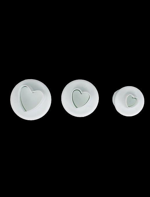 Amazon.com : eDealMax en Forma de corazón de la Torta de la decoración del molde del molde de la herramienta 3pcs del émbolo del cortador de Sugarcraft : ...