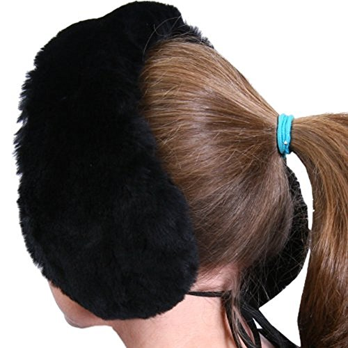 100% Australian Sheepskin Headband Earmuffs / Scarf in Black