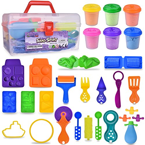 Sand with Molds and Tools Kit Educational Toy DIY kids Back to School Gift 24pcs | Multiple Color (6) Molding Sand Included