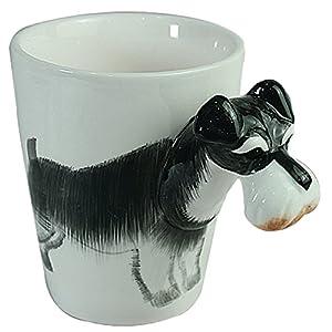 3D Coffee Mug Ceramics Cup With handle Painted Schnauzer Animal