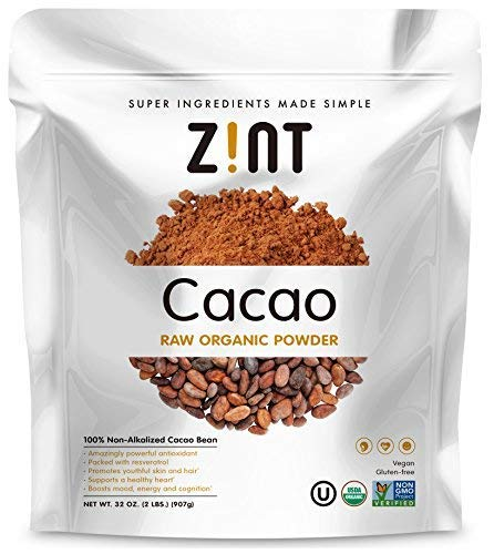 (Zint Organic Cacao Powder (32 oz): Paleo Certified, Non-Alkalized Chocolate With Powerful Antioxidants and Resveratrol)
