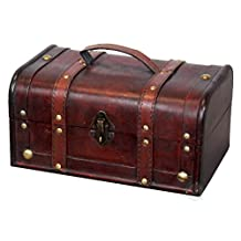 Vintiquewise Decorative Wood Treasure Box - Wooden Trunk Chest