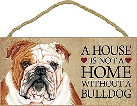 English Bulldog Welcome Sign Wood Sign Tan