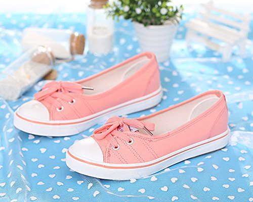 Chicas Espadrilles Redonda Punta Mujer Zapatos Tacón Zapatos Plano Rosa Minetom Moda Ocio Lona TqUF5
