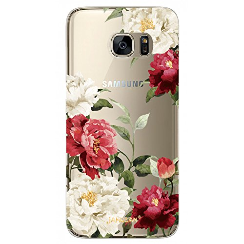 JAHOLAN Cute Girl Floral Design Clear TPU Soft Bumper Slim Flexible Silicone Cover Phone Case for Samsung Galaxy S7 - Red White Flower