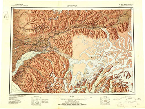 YellowMaps Anchorage AK topo map, 1:250000 Scale, 1 X 3 Degree, Historical, 1951, 23.1 x 30.5 in - Tyvek