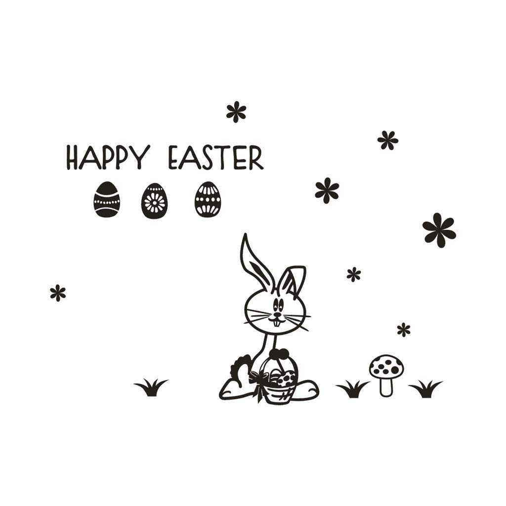 Cyhulu Creative Removable Window Wall Decal, Fashion Exquisite Happy Easter Cartoon Rabbit Egg 3D Mural Stickers for Home Bedroom Living Room Office Wall Art DIY Decor