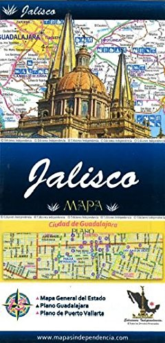 (Jalisco, Mexico, State and Major Cities Map (Spanish Edition))