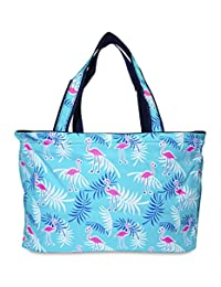 Ever Moda Beach Tote Bag - Teal Flamingo
