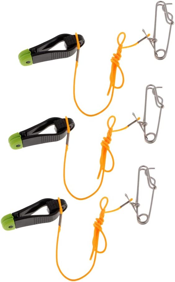 CUTICATE 3pcs Downrigger Release Clip Adjustable Power Grip Plus Release Clip with 17inch Leader and Long Line Snaps