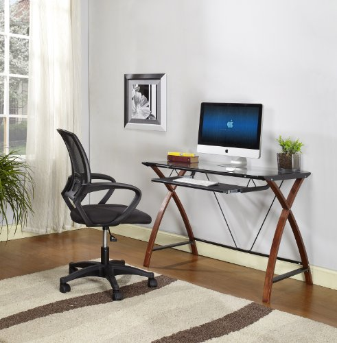 King's Brand HO2126 Workstation Computer Desk with Glass Top, Black and Cherry (Black Finish Metal Computer)