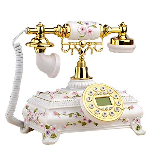 Small Flower Rustic Style Antique European Phone Family Embossed Living Room Retro Creative Bedroom Living Room Office Cafe Retro Decorative Landline (Color : Pink) from PCF