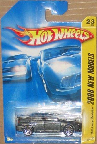 Mattel Hot Wheels 2008 New Models Series 1:64 Scale Die Cast Metal Car # 23 of 40 - Metallic Gray Sporty Sedan 2008 Lancer Evolution with Spoiler