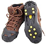 Ice Cleats, Ice Grips Traction Cleats Grippers,Walking Grip Spikes,Non-slip Over Shoe/Boot Rubber Spikes Crampons Anti Easy Slip Crampons Slip-on Stretch Footwear( 10 Steel Studs),Large Size